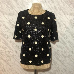 J. Crew Sequin Top Black Polka Dot Medium